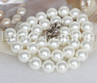 "AAA 18"" 12mm white south sea shell pearls necklace 18KGP clasp j13123"