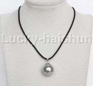 AAA 20mm round beads gray south sea shell pearls pendant necklace j13126
