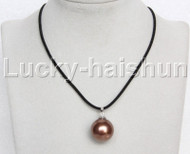 AAA 20mm round beads coffee south sea shell pearls pendant necklace j13128