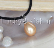 "AAA 18"" 12*15mm drip golden south sea shell pearls pendant necklace j13133"