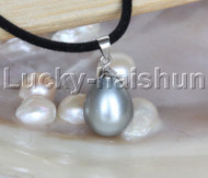 "AAA 18"" 12*15mm drip gray south sea shell pearls pendant necklace j13136"
