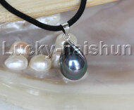 "AAA 18"" 12*15mm drip peacock black south sea shell pearls pendant necklace j13137"