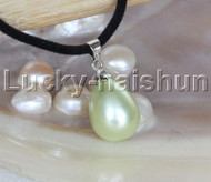 "AAA 18"" 12*15mm drip light green south sea shell pearls pendant necklace j13138"