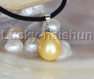 "AAA 18"" 12*15mm drip golden south sea shell pearls pendant necklace j13139"