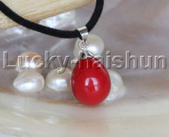 "AAA 18"" 12*15mm drip red south sea shell pearls pendant necklace j13140"