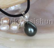 "AAA 18"" 12*15mm drip Tahitian black south sea shell pearls pendant necklace j13141"