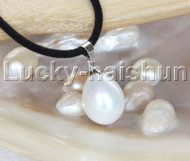 "AAA 18"" 12*15mm drip white south sea shell pearls pendant necklace j13144"