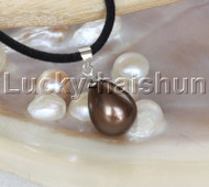 "AAA 18"" 12*15mm drip coffee south sea shell pearls pendant necklace j13145"
