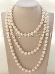 "AAA 56"" 10mm beads round white south sea shell pearls necklace j13146"