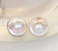 natural 20mm bleb white South Sea Mabe Pearls Earrings clip 925 silver j13147