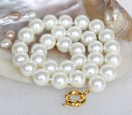 "AAA 18"" 14mm white south sea shell pearls necklace 18KGP clasp j13148"