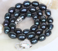 "17"" 11mm baroque rice oval black potato pearls necklace leopard clasp j13153"