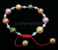 adjustable round pink green golden south sea shell pearls Bracelet j13163