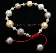 adjustable round white purple golden south sea shell pearls Bracelet j13164