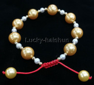 adjustable 10mm round golden yellow south sea shell pearls Bracelet j13167