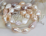 AAA 21mm Baroque white purple pink freshwater Pearl Necklace 18KGP Clasp j13170