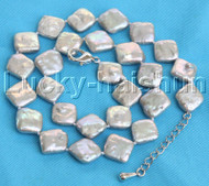 "Luster 16""-18"" 12mm Baroque coin square gray Pearl Necklace 18KGP clasp j13172"