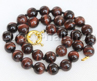 """AAA natural 19"""" 12mm round red Tiger's eyes Necklace gold plated clasp j13173"""