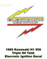 Electronic Ignition-H1 500 1969 Triple - Oil Tank Decal