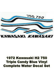 Complete Decal Set - H2 750 1972 Triple - Candy Blue - Water