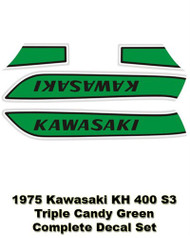Complete Decal Set - KH400 1975 Triple -Candy Green