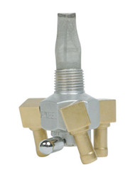 "Triple Outlet On/Off Only Hex Valve-3/8"" NPT-90° 5/16"" hose barbs-Aluminum"