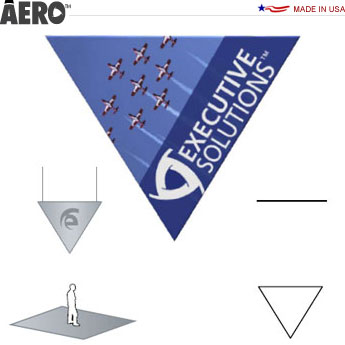 Aero™ Hanging Banner Sign • Flat Triangle