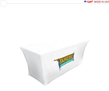 UltraFit™ 8′ Stretch Table Cover w/ Dye-Sub Print on Front