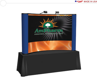Arise™ 8′ Curved Pop Up Tabletop Display w/ Central Mural