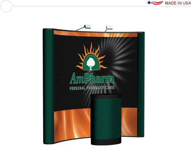 Arise™ 8′ Curved Pop Up Display w/ Central Mural
