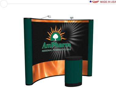Arise™ 10′ Curved Pop Up Display w/ Central Mural