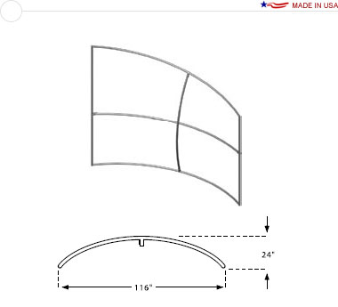 Double Sided 10′ × 8′ Horizontal Curved Sloping Right Frame