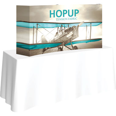 Hop Up™ 2×1 Curved Tabletop Display with Full Fitted Graphic
