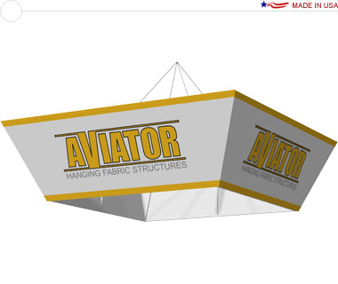 Aviator™ Hanging Banner Sign · 10′ × 36″ Tapered Square