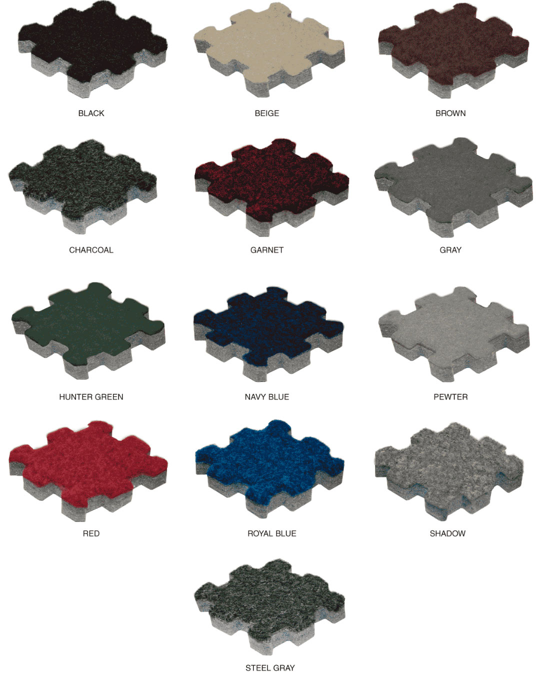 Available colors for Comfort Carpet Plus™ Interlocking Carpet Tiles with Beveled Edges