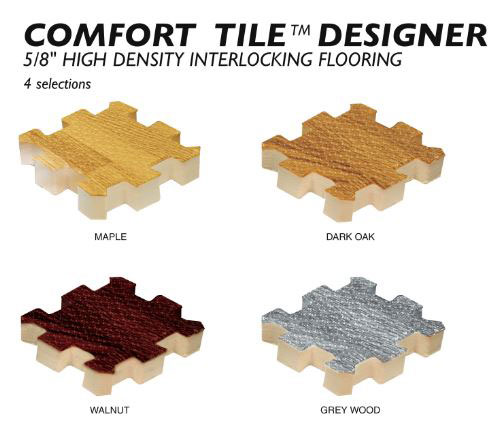 Available colors for Comfort Tile™ Designer Flooring