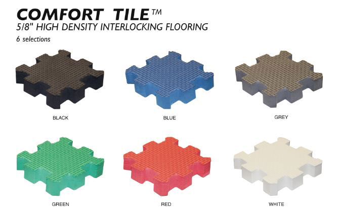 Available colors for Comfort Tile™ Interlocking Floor Tiles