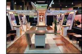 Custom hardwood floor at a trade show