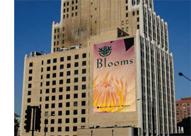 Custom banner hanging on a building exterior