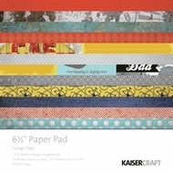 Kaisercraft  6.5in, Paper Pad, Garage Days, Design paper, 40 Page Pad, 2x12 sheets Designed Paper, 12xSpecialty Papers, 4xDie Cut Pages, Scrapify, Australia