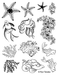 Designs by Ryn Rubber Art Stamps, Cling Rubber stamp, Sea Creatures 2, Scrapify, Australia