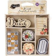 Prima - Vintage Emporium, Wood Embellishments, Dream, 24 Embellishments in wood box, Scrapify, Australia.