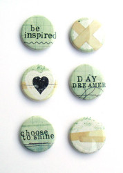 Um Wow, 7 Dots Studio, Destination Unknown, Flat Backed Buttons, Set 6, Inspired Flair, Scrapify, Australia
