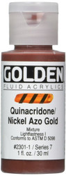 Golden, Fluid Acrylics, Artist Quality, Quinacridone Nickel Azo Gold, 2301, 4 fl.oz, Scrapify, Australia