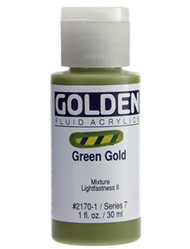 Golden, Fluid Acrylics, Artist Quality, Green Gold, 2170, 4 fl.oz, Scrapify, Australia