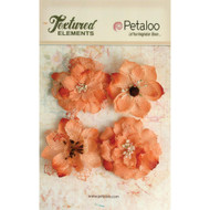 "Petaloo - Textured Elements - Burlap Blossoms - Apricot -  2.25"" 4/Pkg, Scrapify, Australia"