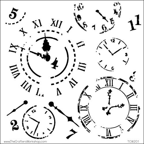 """The Crafter's Workshop Stencils 12""""x 12"""" - Time Travel"""