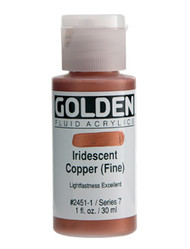Golden, Fluid Acrylics, Artist Quality, Iridescent Copper (Fine)  2451, 1 fl.oz, Scrapify, Australia