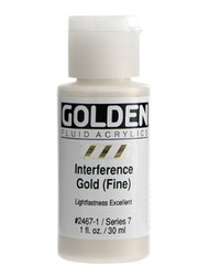 Golden, Fluid Acrylics, Artist Quality, Interference Gold (Fine)  2467, 1 fl.oz, Scrapify, Australia