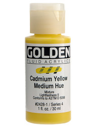 Golden, Fluid Acrylics, Artist Quality, Cadmium Yellow Medium Hue #2428B-1, 1 fl.oz, 30mls, Scrapify, Australia